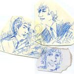 ラフ  人物 イラスト Illustrator 創作 絵 神谷一郎 オリジナル キャラクター 作品 ラクガキ ボールペン 端切れ  紙切れ 反古紙