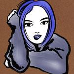 イラスト 筆 筆絵 墨  Illustrator 創作 絵 神谷一郎 オリジナル キャラクター 女性