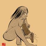 イラスト 筆 筆絵 墨  Illustrator 創作 絵 神谷一郎 オリジナル キャラクター 音楽 ミュージシャン ギター ロック