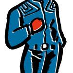 イラスト 筆 筆絵 墨  Illustrator 創作 絵 神谷一郎 オリジナル キャラクター 人物