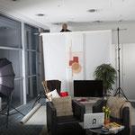 Set-Aufbau für ein Werbefoto