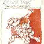 Entwurf für Comic-Figuren / Buntstift und Wasserfarbe auf Zeichenpapier