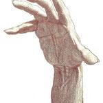 Bedrohliche Hand (Ausschnitt) / Buntstift auf Zeichenkarton