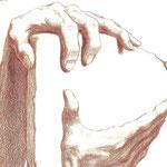 Diskutierende Hände (Ausschnitt) / Buntstift auf Zeichenkarton