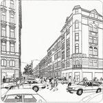 Architektur: Neubaugasse / Tusche auf Transparentpapier