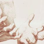 Dramatische Geste (Ausschnitt) / Buntstift auf Zeichenkarton