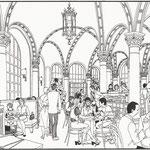 Architektur: Café Central / Tusche auf Transparentpapier
