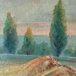 Schizzo su cartoncino, 15X25 - dintorni di Verona - 1953