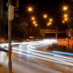 Stuttgarts Straßen, Spuren in der Nacht (Langzeitbelichtung + HDR)