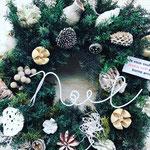2018年11月 出張ワークショップ 『フレッシュグリーンのクリスマスリース(25cm)』作り