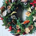 2018年11月 表参道&飯田1dayレッスン 『フレッシュグリーンのクリスマスリース(35cm)』作り