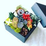 2018年12月 表参道&飯田1dayレッスン  ドライ&プリザを使った『おせちBoxアレンジメント』作り