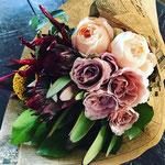 2017年10月 表参道&飯田1dayレッスン 『カフェラテ色の秋ブーケ(生花)』