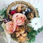 2017年12月 表参道&飯田1dayレッスン 『クリスマスバスケットアレンジ(生花)』