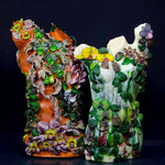 Tango Phalaenopsis , cast with flamework incllusions, pate de verre, 26H X18 W