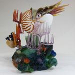 Nautilus, cast, pate de verre, borosilicate flamework, 12 H X 14 W