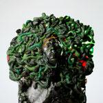 Medusa self portrait, pate de verre, lifesize