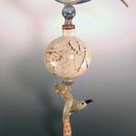 Bone Bird tall perfume bottle , borosilicate flamework