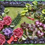 Flower Garden pate de verre 10 H X 12 W