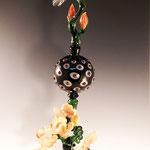 Orchid Perfume Bottle, borosilicate flamework 18H X 6 W