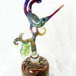 Bird of Paradise perfume bottle, borosilicate flamework