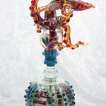 Octopus Perfume bottle, borosilicate flamework