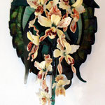 Wall Orchids, cast crystal and flamework 24 H X 12 W