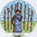 9 de Bâtons - Le tarot des Cloîtres
