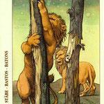 2 de Bâtons - Le tarot de Dürer