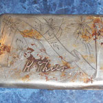 Very nice silver cigarette case. Owner's name in gold letters done. It would be interesting to find the owner or his descendants, if possible