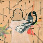 Leda y el cisne, técnica mixta sobre papel vintage, 2010