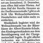 Ankündigung vom Weihnachtsmarkt 2014 in Ingeln-Oesselse in den Leine-Nachrichten vom 01. Dezember 2014