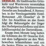 Ankündigung der Leine-Nachrichten vom 04. November. Das Grünkohl- und Wurstessen findet am Sonnabend, dem 08. November statt!
