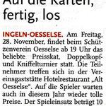 Ankündigung vom Preisskat-,Kniffel- und Doppelkopftunier in den Leine-Nachrichten vom 22. November 2014
