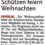 Einladung zur diesjährigen Weihnachtsfeier beim Schützenverein Oesselse in den Leine-Nachrichten vom 02. Dezember 2014
