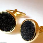 Manschettenknöpfe in Gold mit Palisanderholz • Verkauft