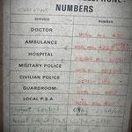 Military Emergency Telephone list Werl - Albuhera & Vittoria Barracks - B.A.O.R Werl