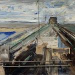 Ludewig - An die Front, Acryl, Öl, Sand, Briefe, CDV-Foto und Eisendraht auf Mischgewebe, 60 x 80 cm