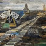 Ludewig - Vorabend, Acryl, Öl, Sand, Postkarten und Eintrittskarte auf Mischgewebe, 60 x 80 cm