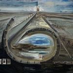 Ludewig - Der Bruch, Öl, Schienen und CDV-Foto auf Leinwand, 150 x 180 cm