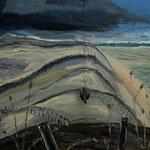 04.03.1916 (Franz), Öl, Granatsplitter und Eisendraht auf Leinwand, 100 x 140 cm