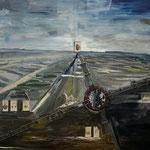 Ludewig - Am Drehkreuz, Öl, Schienen und CDV-Foto auf Leinwand, 150 x 180 cm