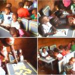 les enfants de la maternelle dans leur salle