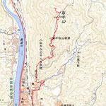 備中松山城へのルート図(GPS軌跡から)