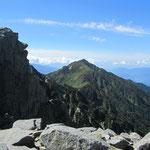 宝剣岳の天狗岩と三ノ沢岳