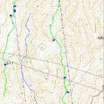 上から1/5くらいのところにある△855.9が庄部谷山。 北の・772までにたくさんの巨木があるね。 ここも伐採予定箇所になっています。