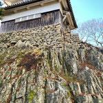 自然の岩の上に石垣を乗せ作られた二重櫓