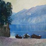 Mandello vista lago. Olio su tela. dim40x40