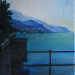 Veduta lago da piazza italia-Mandello. Olio su tela 25X30 proprietà privata
