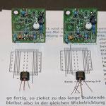 Übertrager mit symmetrischer Mittelanzapfung, dahinter die ersten beiden VCO Platinen für 40m und 80m